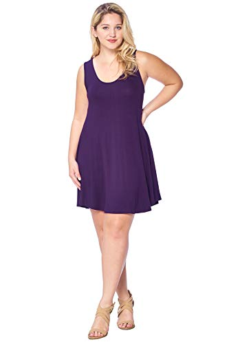 - Modern Kiwi Solid Basic Asymmetric Plus Size Tank Tunic Dress Purple 1X