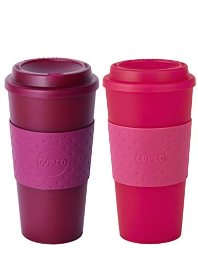 - Copco Acadia Double Wall Insulated 16 oz Travel To Go Mug with Non-Slip Sleeve, Set of 2, Commuter Friendly, Drink On the Go (Translucent Marsala Red/Translucent Pink)