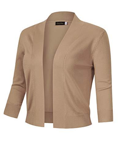 (GloryStar Women's 3/4 Sleeve Open Front Cropped Cardigan Sweater Lightweight Knit Short Shrugs (XXL, Camel))