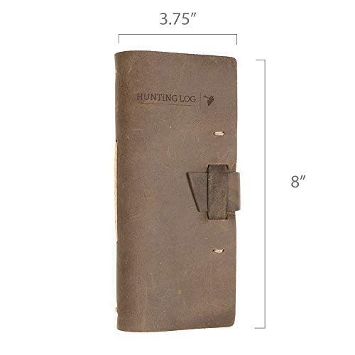 Leather Hunting Log Book Designed for Hunters, Record Hunts for All Species, Hunting Journal 96 Pages Dark Brown