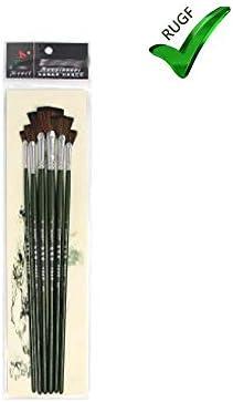 ナイロン扇型ブラシ、フィッシュテール扇型ペン、6セットのアートブラシ、キャンバス、木材、モデルへの塗装に最適
