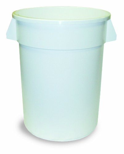 Continental 3200WH 32-Gallon Huskee LLDPE Waste Receptacle, Round, White