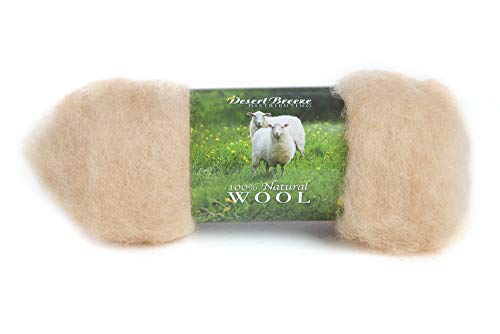 Apricot Wool - Maori Wool - A Special Blend of New Zealand Wools by DHG for Needle Felting and Wet Felting, 1 OZ Carded Wool Batt, 100% Pure Wool, Color Apricot Orange