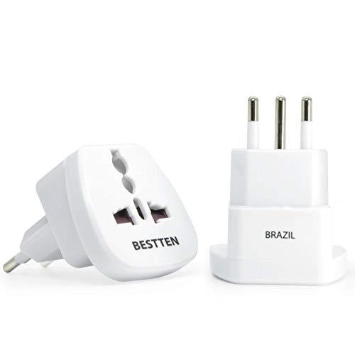 - Travel Adapter for Brazil, Type N, 3-Pin Grounded Plug, Tamper Resistant Socket- 2 Pack
