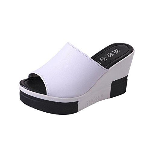 HLHN Women Slipper,Roman Wedge Heel Sandals Platform Shoes Peep-Toe Slope Flops Beach Summer Ladies White