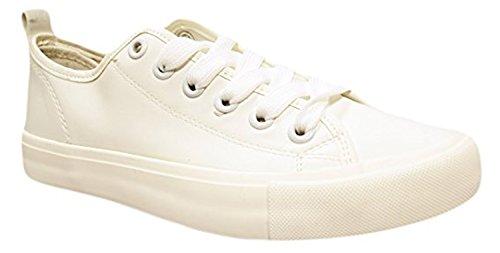 Superior Sólidos Pretty de Colores Zapatillas Shop Casual a Lona Plano Pu Estilo Leather Moda con Mujer White Vegen la Cordones Baja Parte para gqgzwP8xn