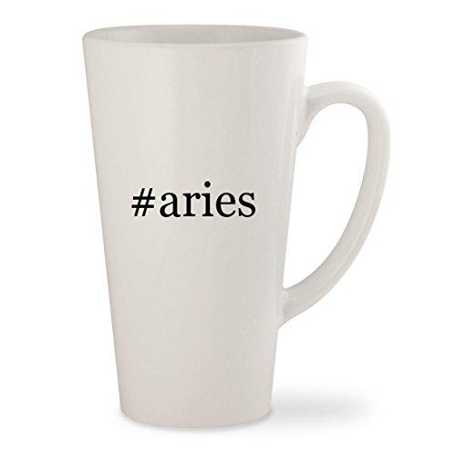#aries - White Hashtag 17oz Ceramic Latte Mug Cup