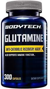 BodyTech LGlutamine (Freeform Amino Acid) 500 MG AntiCatabolic Recovery Agent, Also Supports Immune Function (300 Capsules)