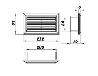 Rejilla de ventilación para ventilación Canal 204x 60mm (871)