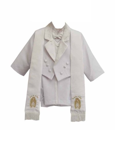 White Baby Boy Amoeba Pattern Gold Maria Guadalupe Embroidered Suit Set, Scarf