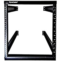 DynaCable 12U Heavy Duty Open Frame Mount Fixed Rack for Cabinets, IT Networking and More, 20 Inch Depth, Matte Black, 250lb Capacity