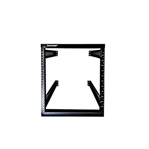 DynaCable 12U Heavy Duty Open Frame Mount Fixed Rack for Cabinets, IT Networking and More, 20 Inch Depth, Matte Black, 250lb Capacity by DynaCable