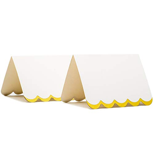 Gold Foil Place Cards - 100 Wedding Tent Cards for Banquet Bridal Shower Party Event Buffet Reception, Table Card Decorations 2 x 3 Inches Folded with Scalloped Edges