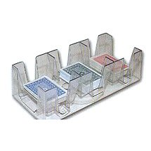 9 Deck Plastic Revolving Playing Card Tray with 3 Slots - Clear - Game Card Holder