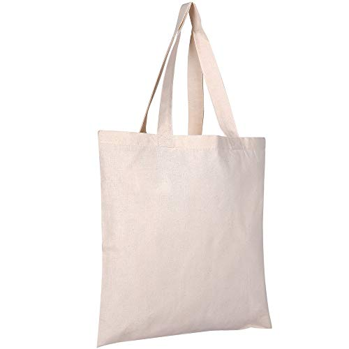 25 Pack Bulk Cotton Canvas Tote Bags Reusable Grocery Shopping Blank Tote Bags in Bulk Blank Art Craft Supply Book Print Bulk Lot School Church Party Blank goods Bags Wholesale Tote Bags (Natural) - Wholesale Canvas Tote Bags
