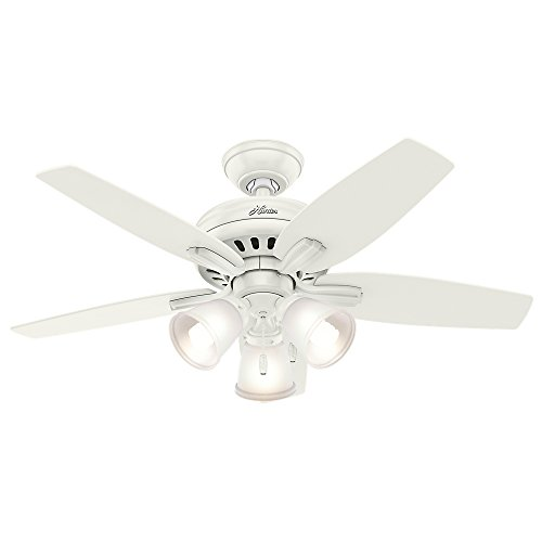 Hunter Fan Company 51083 Downrod Mount, 5 Fresh White and Light Oak Blades Ceiling fan with 47.5 watts light, White