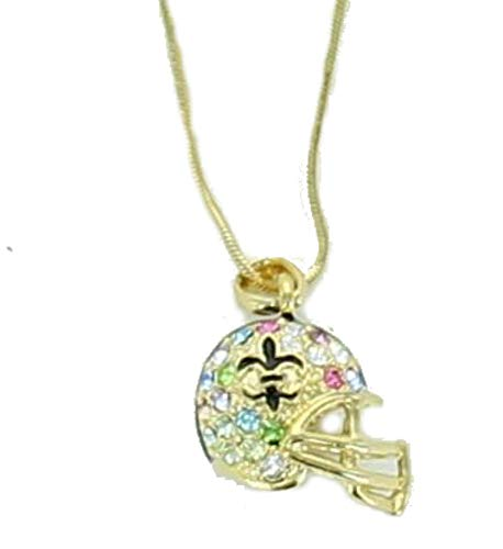 Gold Football Helmet with Fleur De Lis Logo Pendant Necklace With Multicolor Rhinestones.