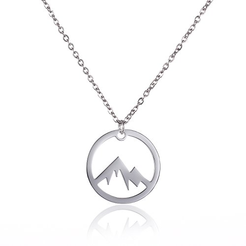 Vinjewelry Silver Mountain Pendant Gear Necklace Novelty Gifts for Hiking Women