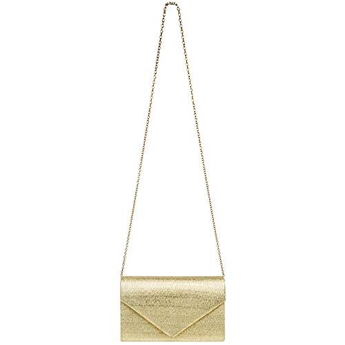 Elegant Gold Ladies With Caspar Ta403 Clutch Glitter Evening Long Bag Envelope Chain 1PORXq