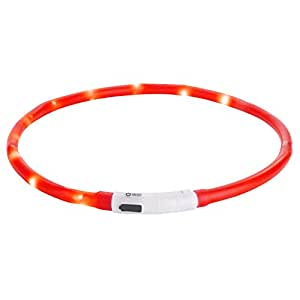 Dog Collar, Itery Led USB Rechargeable Pet Safety Collar Waterproof Light up Adjustable Flashing Collar (Red)