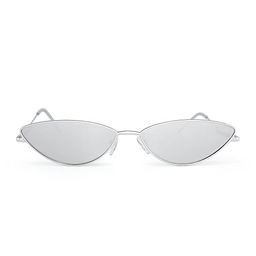 de Gafas Pequeña Anteojos de Sol Espejo Plateado Lentes Gato Ojos Plateado Claro Fiesta Teñido Triángulo Metal Mujer EIx7Ifrw