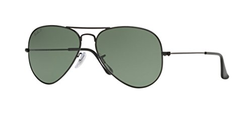 Ray-Ban RB3025 Aviator Large Metal Sunglasses,58mm,Matte Black/Polar Green (Ray Ban Aviator Medium)
