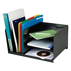 SteelMaster 26420HV004 Vertical/Horizontal Combo Organizer, Six Sections, Steel, 15 x 11 x 8 1/8, Black - Six Horizontal Sections