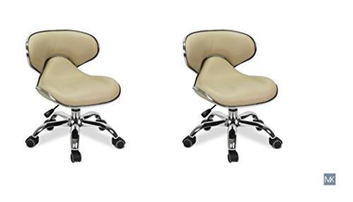 MAYAKOBA SET OF 2 Nail Salon Pedicure Stool UMI CREAM Pedicure Chair Short Adjustable Comfort Pneumatic Pump Salon Furniture & Equipment by MAYAKOBA