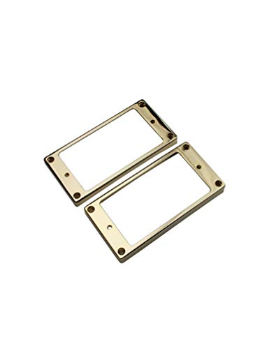 GUYKER Electric Guitar Neck and Bridge Metal Curved Humbucker Pickup Frame Mounting Rings Set for Gibson Les Paul Replacement (Pack of 2) (gold)