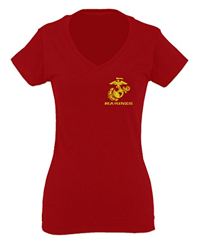 Marines Marine Corp USMC Logo Seal United States of America USA American for Women V Neck Fitted T Shirt (Red, (Corp Logo T-shirt)