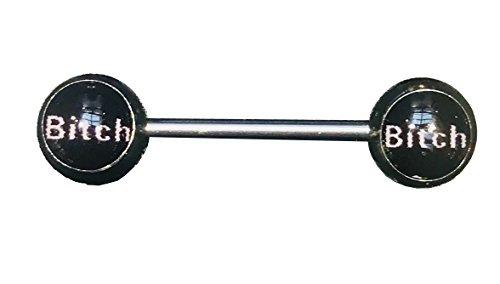 (TheCheshireCat (1 Pair) Naughty Words Straight Nipple Bars Surgical Steel 14g (BITCH) )