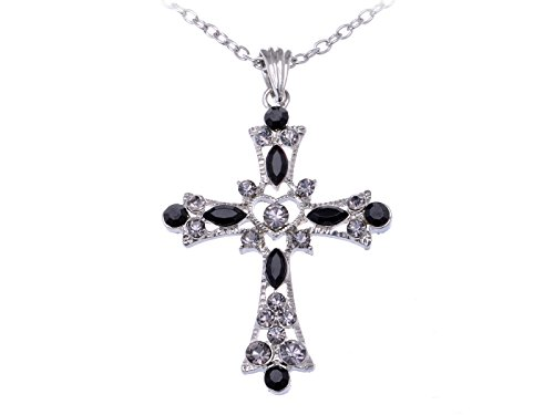 Alilang Gothic Black Rhinestone Inspirational Crystal Holy Cross Love God Heart Pendant Necklace