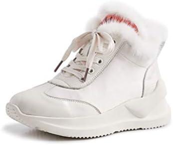 HRN Botines para Mujeres de Fondo Plano Gruesos Tacones cuñas Botas para la Nieve con Cordones Forro Polar Zapatos Deportivos Zapatos Blancos otoño e ...