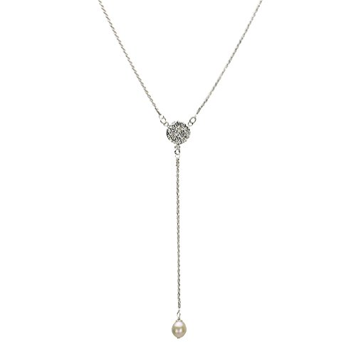 Sterling Silver Freshwater Cultured Pearl D/C 1.5mm Rope Chain Y-Shaped Necklace - Chain Rope D/c