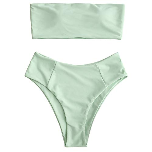 ZAFUL Women's High Cut Bandeau Bikini Set Strapless Solid Color 2 Pieces Bathing Suit Swimsuit Mint Green M
