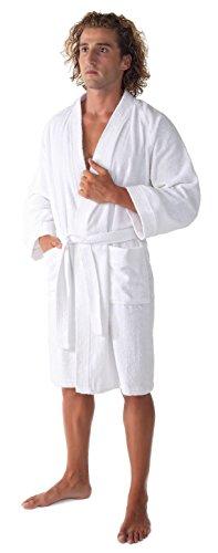 Arus Men's Short Kimono Bathrobe Turkish Cotton Terry Cloth Robe White S/M by Arus