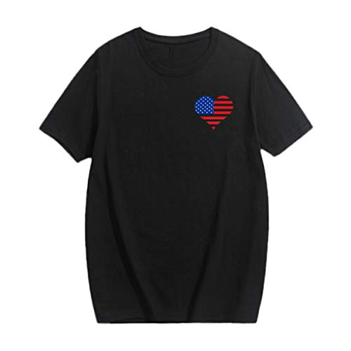 - Mysky Matching Set Family Love Heart USA Flag Print Short Sleeve Tops T-Shirt Family Clothes