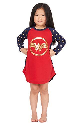 INTIMO Wonder Woman Costume Girls' Gold Logo Raglan Nightgown Pajama Sleep Shirt (5T) ()
