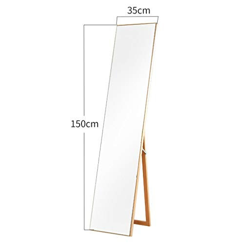 FLOOR MIRROR Solid Wood Wall-Mounted Mirror Home Nordic Full-Length Clothing Store Bracket Fitting Mirror 0611A (Color : Walnut Color)