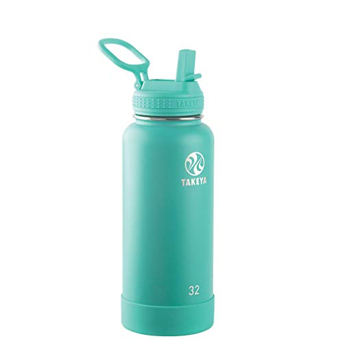 Takeya Actives Insulated Stainless Steel Water Bottle with Straw Lid, 32 oz, Teal