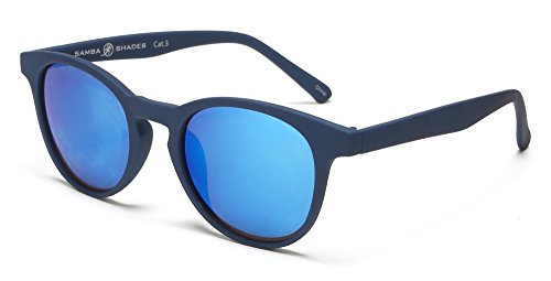 Samba Shades Miami Classic Round Wayfarer Sunglasses with Rubber Blue Frame, Blue Mirror - Shades Blues Miami