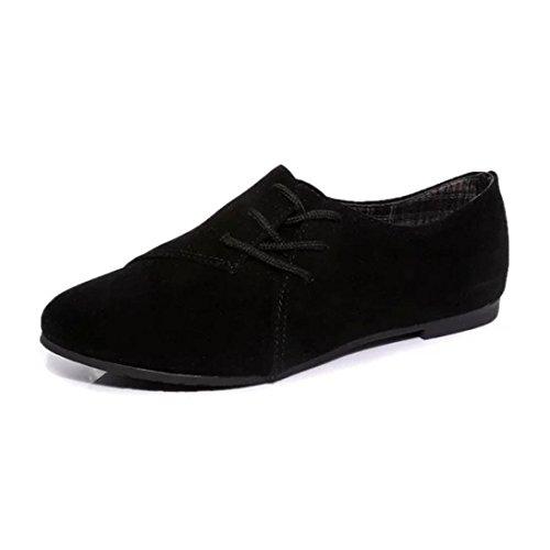 Elevin (tm) Mujeres Spring Casual Lace Up Pointed Toe Low Para Ayudar A Los Zapatos Planos Inferiores Uniformes Negro