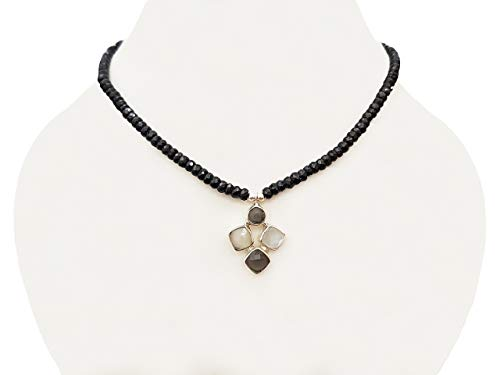 ne Silver pendant with Black Spinel Beads Neckalce Strand with 925 Silver Findings ()