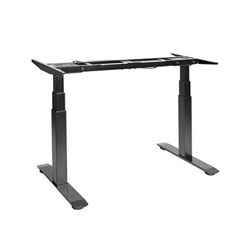 Seville Classics AIRLIFT S3 Electric Standing Desk Frame Max. Height 50.4 w 4 Memory Buttons LED Height Display – Base Only, Extends 45 to 62.9 W, 3-Section Base, Dual Motors, Black