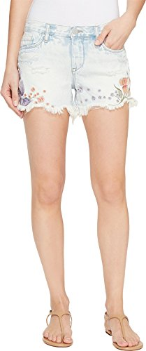 [BLANKNYC] Blank NYC Women's Floral Embroidered Denim Shorts In Sitting Pretty Sitting Pretty Shorts - Embroidered Womens Low Rise Short