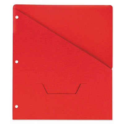 (Universal Slash-Cut Pockets for Three-Ring Binders, Jacket, Letter, 11 Pt., Red, 10/Pack)