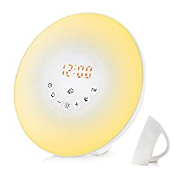 WloveTravel Sunrise Alarm Clock, Wake-up Light with FM Radio, Nature Sounds, Digital Clock with Touch Control and USB Charger