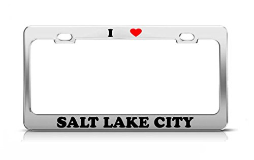 I HEART SALT LAKE CITY UTAH Metal Auto License Plate Frame Tag Holder -