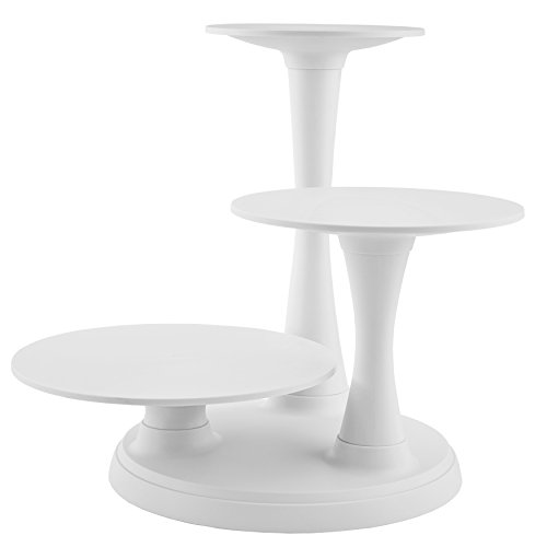 (Wilton 3-Tier Pillar Style Cake and Dessert Stand, Great for Displaying Cakes, Cupcakes, Danishes and Your Favorite Hors d'Oeuvres, White)