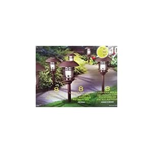 Naturally BIG Solar 8 pc Solar LED Vintage Style Pathway Lights w/ Bronze Finish